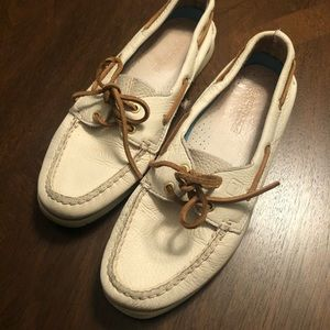 White Leather Sperry Topsiders - Size 8